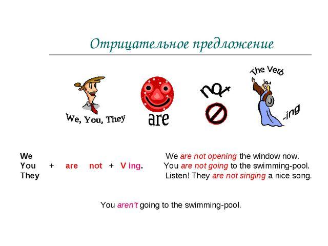 Отрицательное предложение We We are not opening the window now. You + are not...