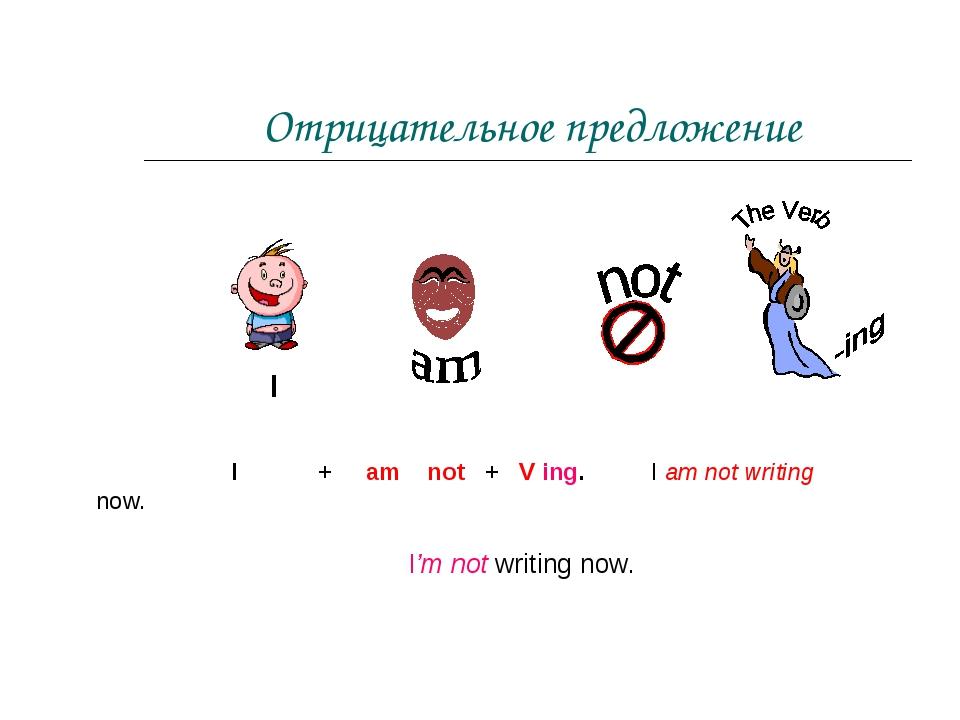 Отрицательное предложение I + am not + V ing. I am not writing now. I I'm not...