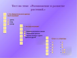 Тест по теме «Размножение и развитие растений.»