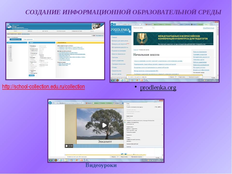 СОЗДАНИЕ ИНФОРМАЦИОННОЙ ОБРАЗОВАТЕЛЬНОЙ СРЕДЫ http://school-collection.edu.ru...