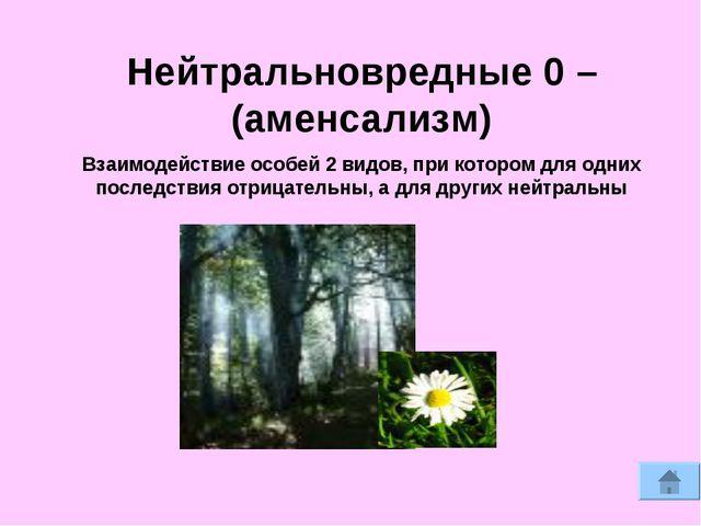 Нейтральновредные 0 – (аменсализм) Взаимодействие особей 2 видов, при котором...