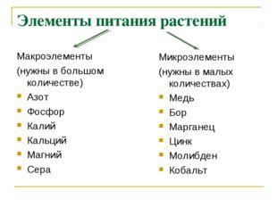 Элементы питания растений Макроэлементы (нужны в большом количестве) Азот Фос