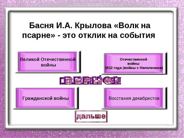 Басня И.А. Крылова «Волк на псарне» - это отклик на события Отечественной вой...