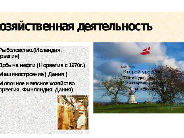 Хозяйственная деятельность 1. Рыболовство.(Исландия, Норвегия) 2. Добыча нефт...