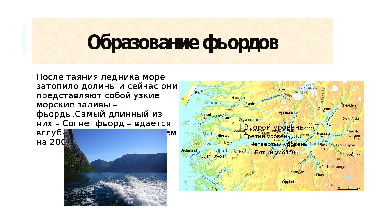 Образование фьордов После таяния ледника море затопило долины и сейчас они пр...