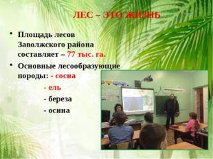 Площадь лесов Заволжского района составляет – 77 тыс. га. Основные лесообразу