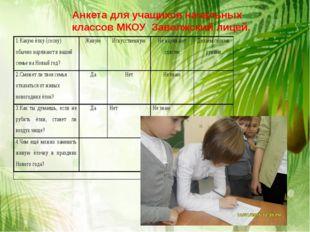 Анкета для учащихся начальных классов МКОУ Заволжский лицей.