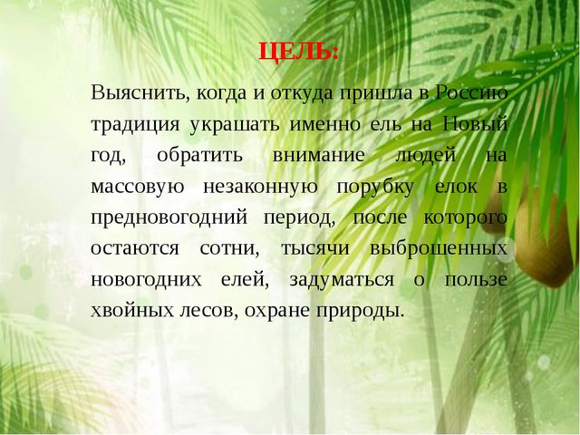ЦЕЛЬ: Выяснить, когда и откуда пришла в Россию традиция украшать именно ель н...