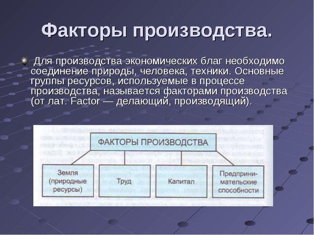 Факторы производства. Для производства экономических благ необходимо соедине...