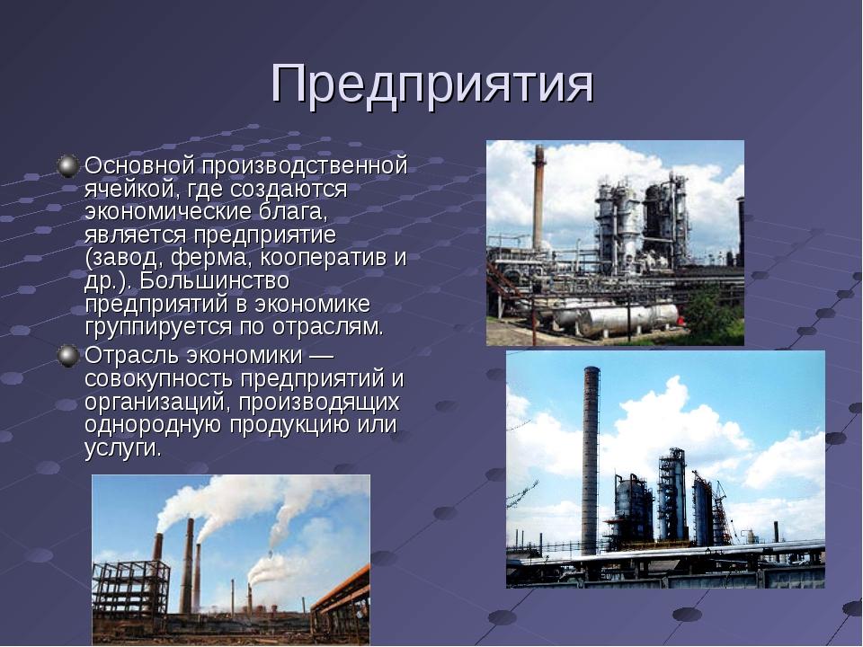 Предприятия Основной производственной ячейкой, где создаются экономические бл...