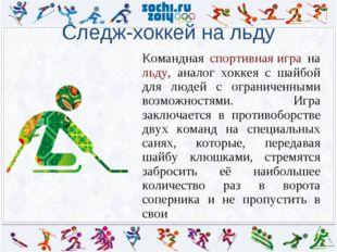 Следж-хоккей на льду Командная спортивная игра на льду, аналог хоккея с шайб