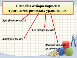 Способы отбора корней в тригонометрических уравнениях Арифметический Функцион