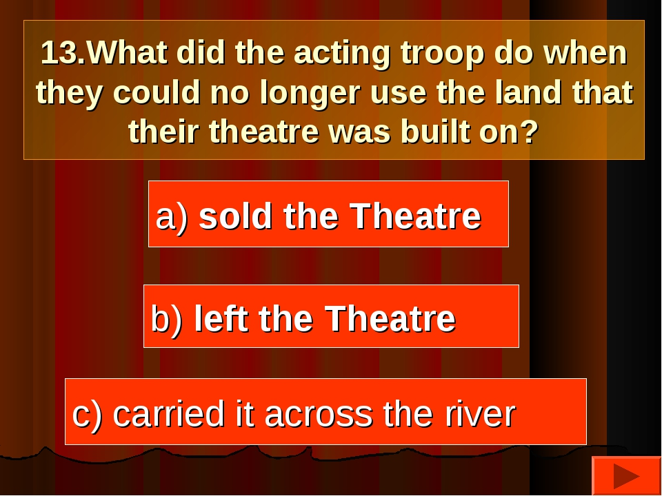 13.What did the acting troop do when they could no longer use the land that t...