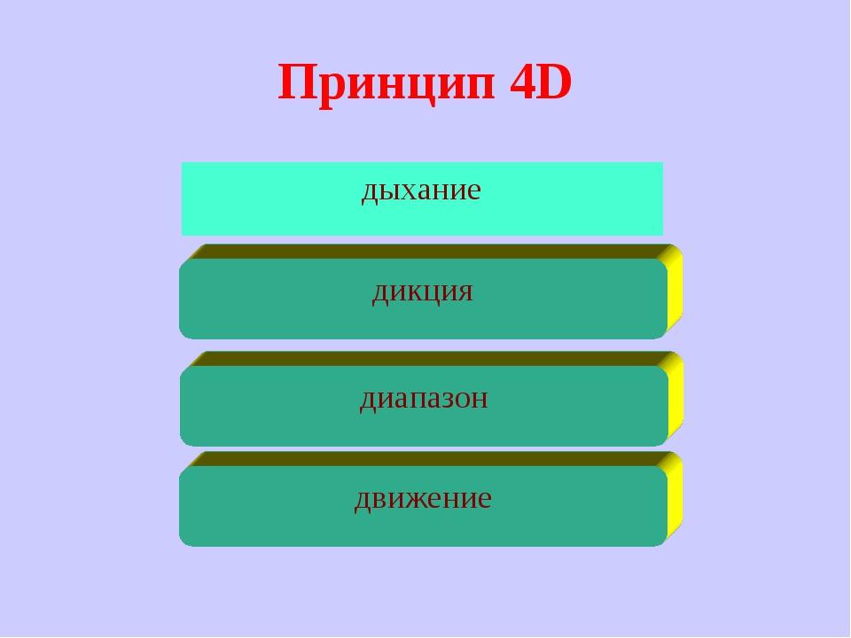 Принцип 4D дыхание движение диапазон дикция