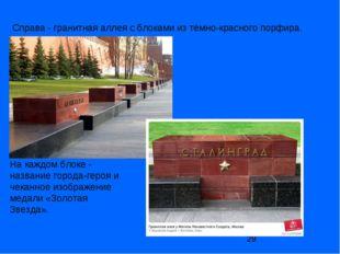 Справа- гранитная аллея с блоками из тёмно-красного порфира. На каждом блоке