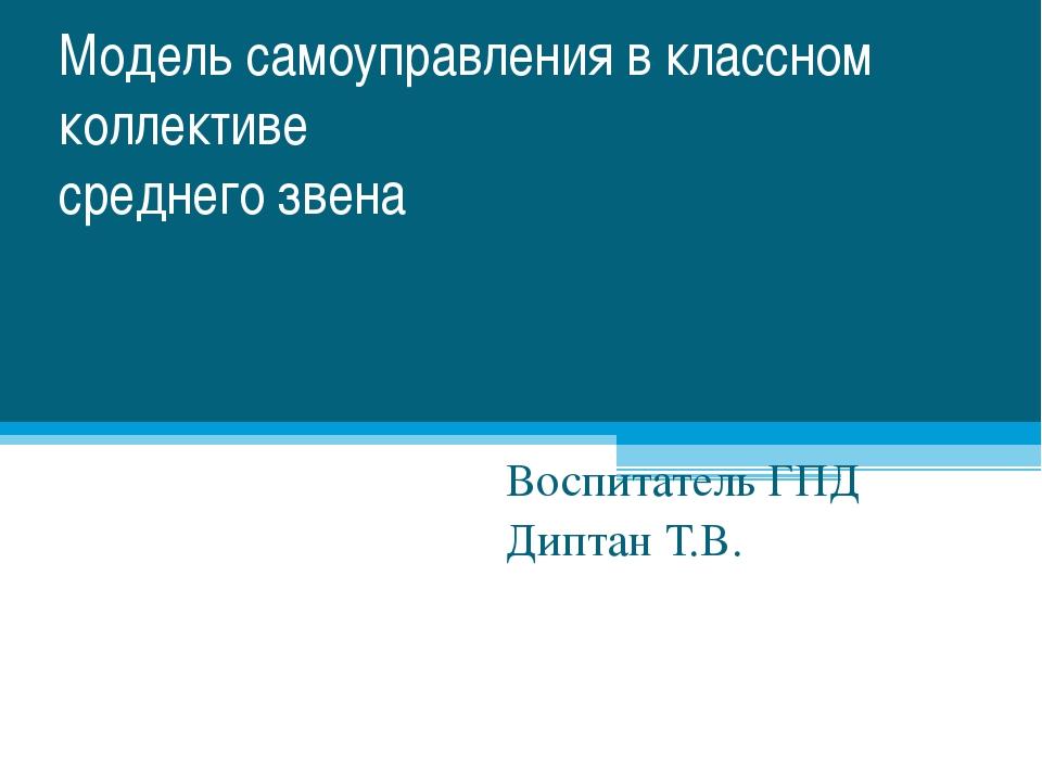 Модель самоуправления в классном коллективе среднего звена Воспитатель ГПД Ди...