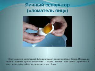 Яичный сепаратор («ломатель яиц») Этот человек на кондитерской фабрике отделя