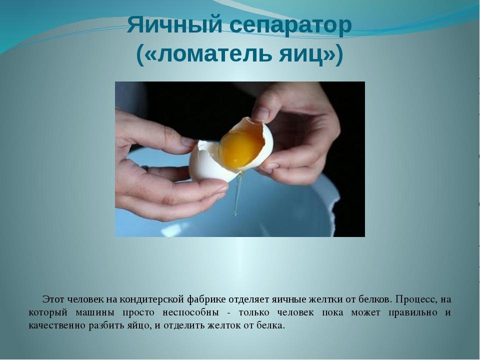 Яичный сепаратор («ломатель яиц») Этот человек на кондитерской фабрике отделя...