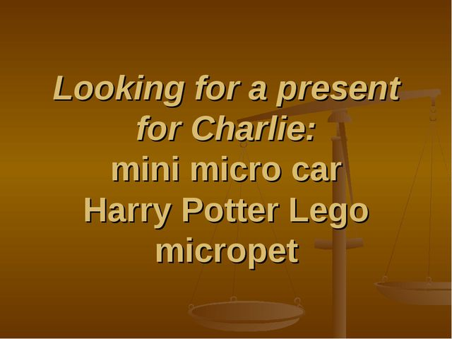 Looking for a present for Charlie: mini micro car Harry Potter Lego micropet