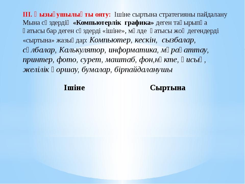 ІІІ. Қызығушылықты ояту: Ішіне сыртына стратегияны пайдалану Мына сөздердің...