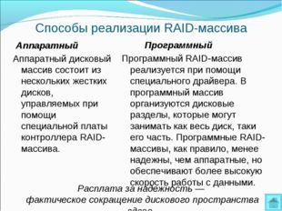 Способы реализации RAID-массива Аппаратный Аппаратный дисковый массив состоит