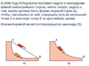 В 1696 году И.Бернулли поставил задачу о нахождении кривой наискорейшего спус