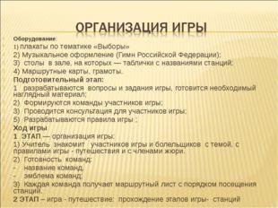 Оборудование: 1) плакаты по тематике «Выборы» 2) Музыкальное оформление (Гимн