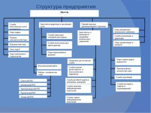 Структура предприятия Директор Отдел кадров Служба бухгалтерского учета и от