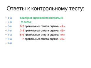 Ответы к контрольному тесту: 1-а Критерии оценивания контрольно- 2-б го теста