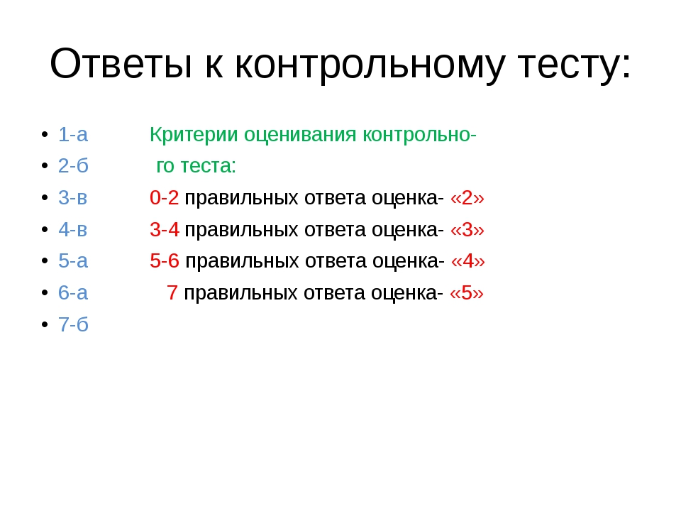 Ответы к контрольному тесту: 1-а Критерии оценивания контрольно- 2-б го теста...