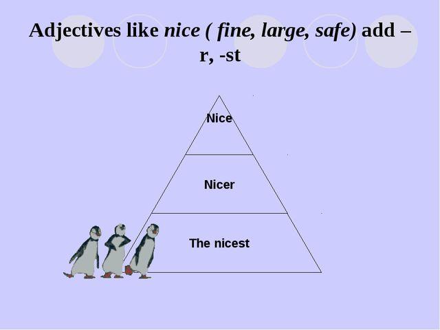 Adjectives like nice ( fine, large, safe) add –r, -st
