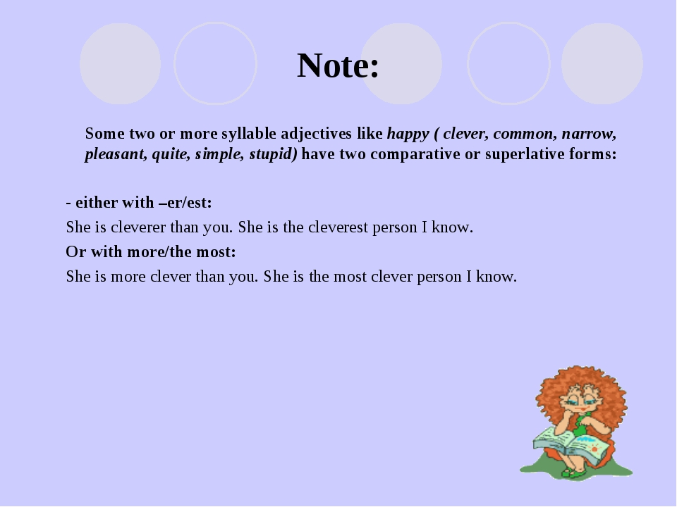 Note: Some two or more syllable adjectives like happy ( clever, common, narro...