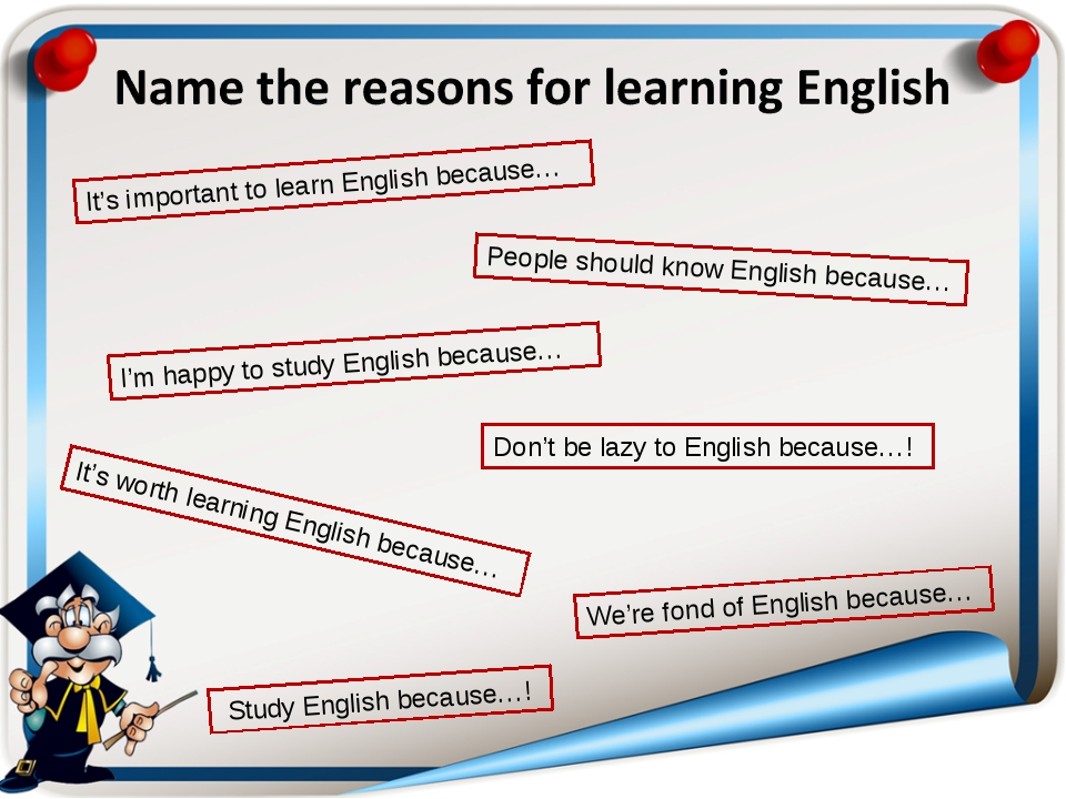 It's important to learn English because… People should know English because…...