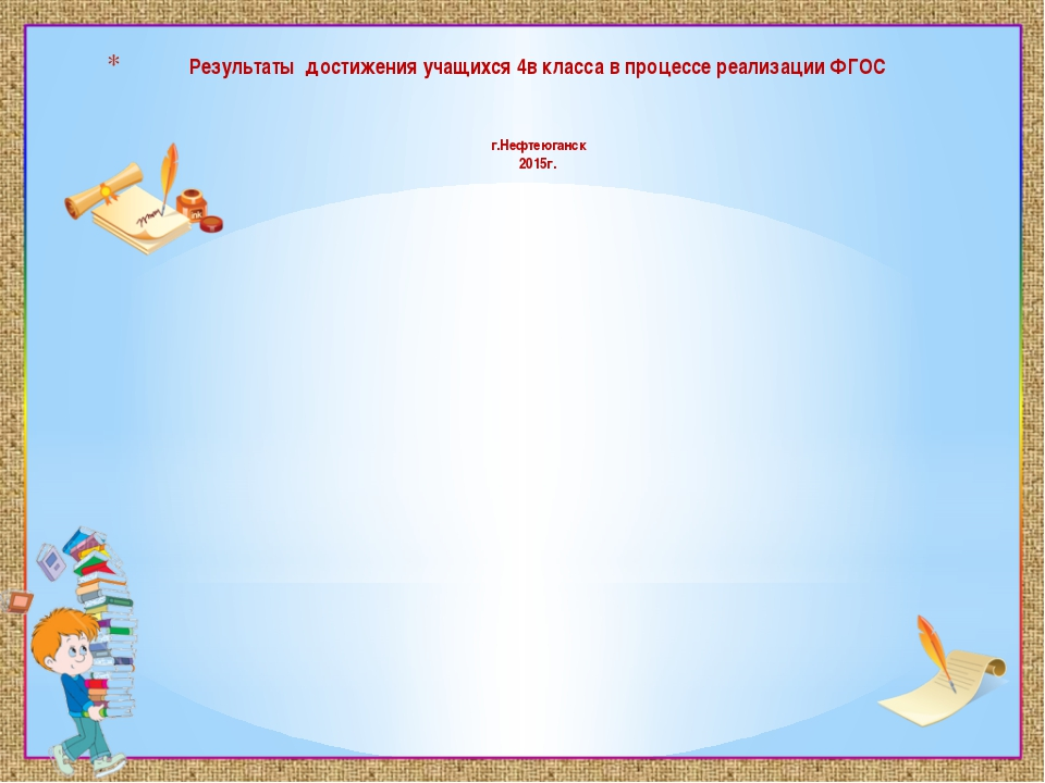 Результаты достижения учащихся 4в класса в процессе реализации ФГОС г.Нефтеюг...