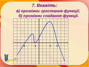 7. Вкажіть: а) проміжки зростання функції; б) проміжки спадання функції. -1 -