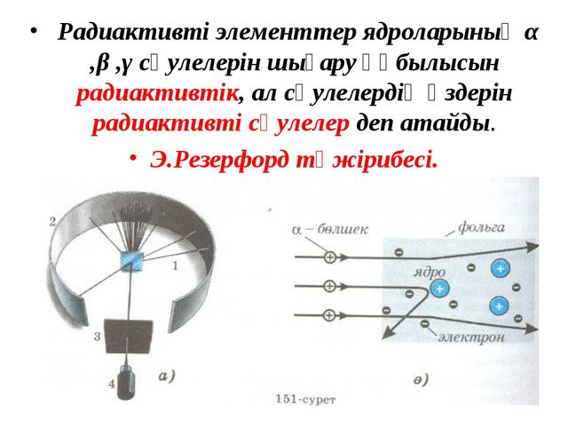 Радиактивті элементтер ядроларының α ,β ,γ сәулелерін шығару құбылысын радиа...