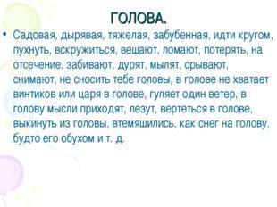 ГОЛОВА. Садовая, дырявая, тяжелая, забубенная, идти кругом, пухнуть, вскружит