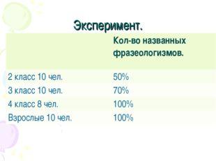 Эксперимент. Кол-во названных фразеологизмов. 2 класс 10 чел.50% 3 класс 10