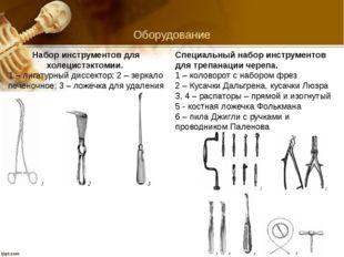 Оборудование Набор инструментов для холецистэктомии. 1 – лигатурный диссекто