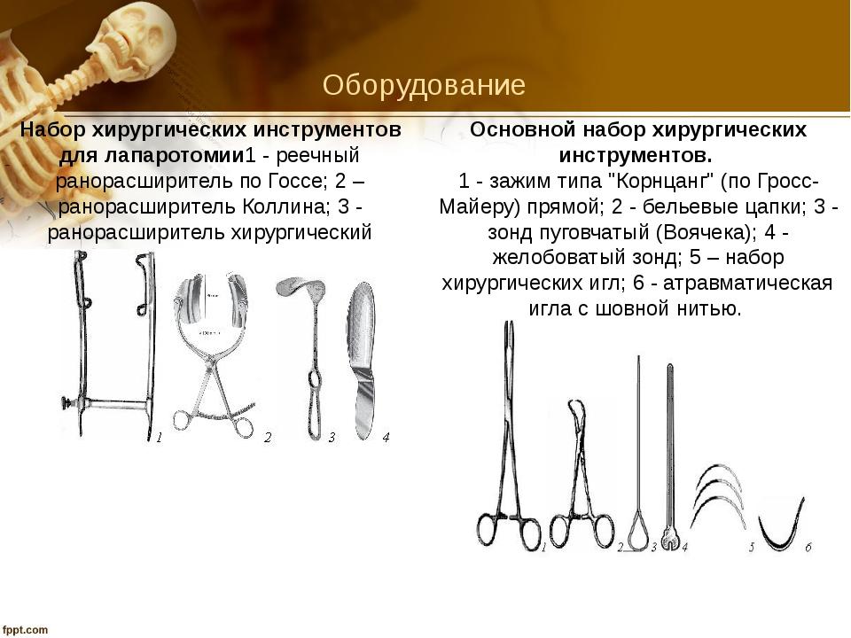 Оборудование Набор хирургических инструментов для лапаротомии1 - реечный рано...