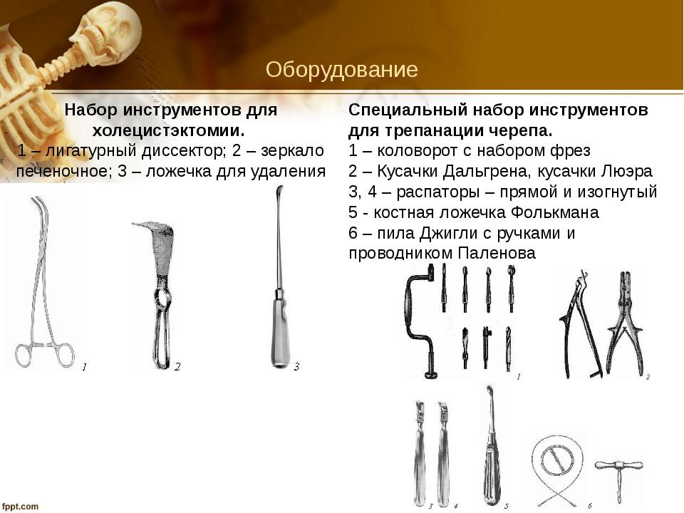 Оборудование Набор инструментов для холецистэктомии. 1 – лигатурный диссекто...