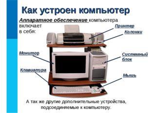 Аппаратное обеспечение компьютера включает в себя: Как устроен компьютер Сист
