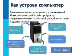 Главным в компьютере является системный блок, включающий в себя процессор, оп