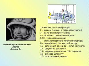 Алексей Архипович Леонов 1965год «Восход 2» 1-6 мягкие части скафандра; 2 - р