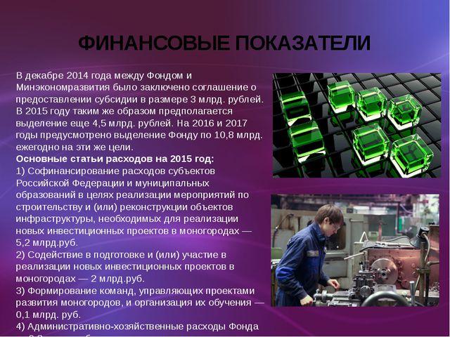 ФИНАНСОВЫЕ ПОКАЗАТЕЛИ В декабре 2014 года между Фондом и Минэкономразвития бы...