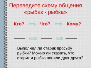 Переведите схему общения «рыбак - рыбка» Кто? Что? Кому? _____ _____ _____ Вы