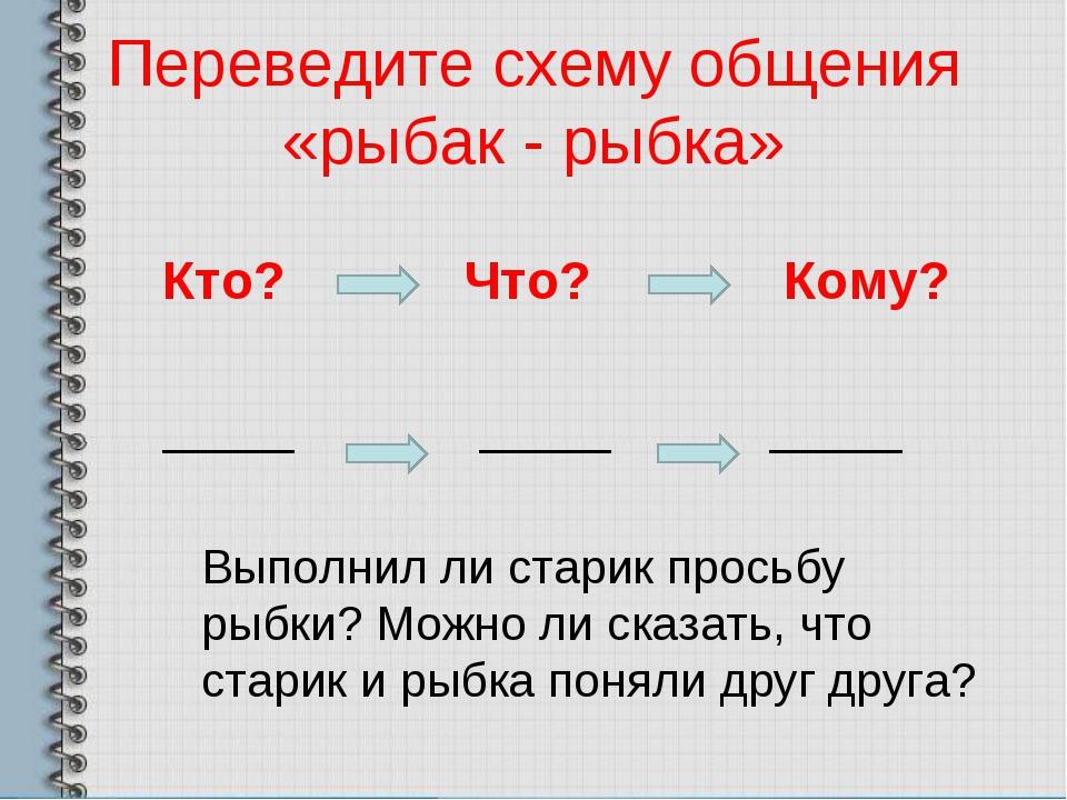 Переведите схему общения «рыбак - рыбка» Кто? Что? Кому? _____ _____ _____ Вы...