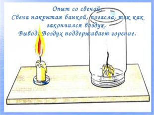 Опыт со свечой. Свеча накрытая банкой, погасла, так как закончился воздух. Вы