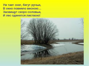 Уж тает снег, бегут ручьи, В окно повеяло весною… Засвищут скоро соловьи, И л