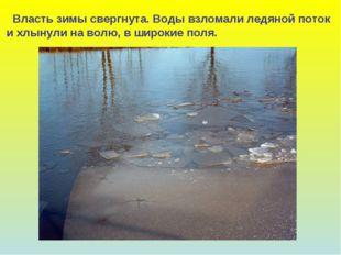 Власть зимы свергнута. Воды взломали ледяной поток и хлынули на волю, в широ